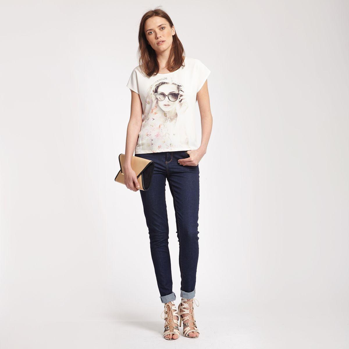 T-shirt imprimé femme collier strass