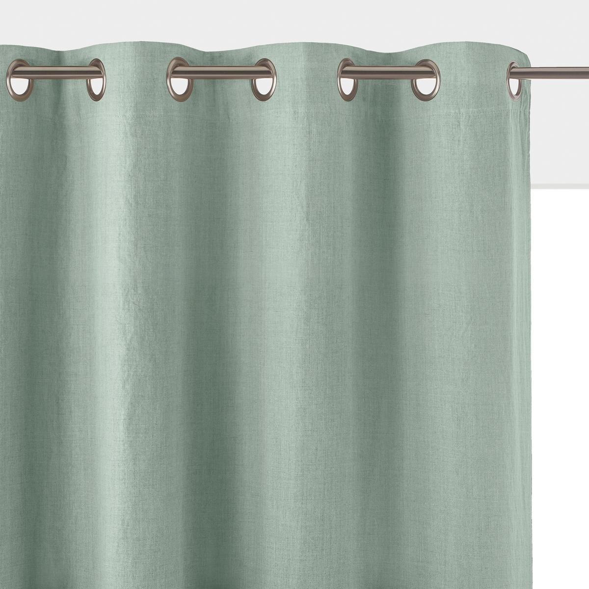 Штора La Redoute Затемняющая из осветленного льна с люверсами ONEGA 260 x 135 см зеленый штора затемняющая из стираного льна с кожаными шлевками private