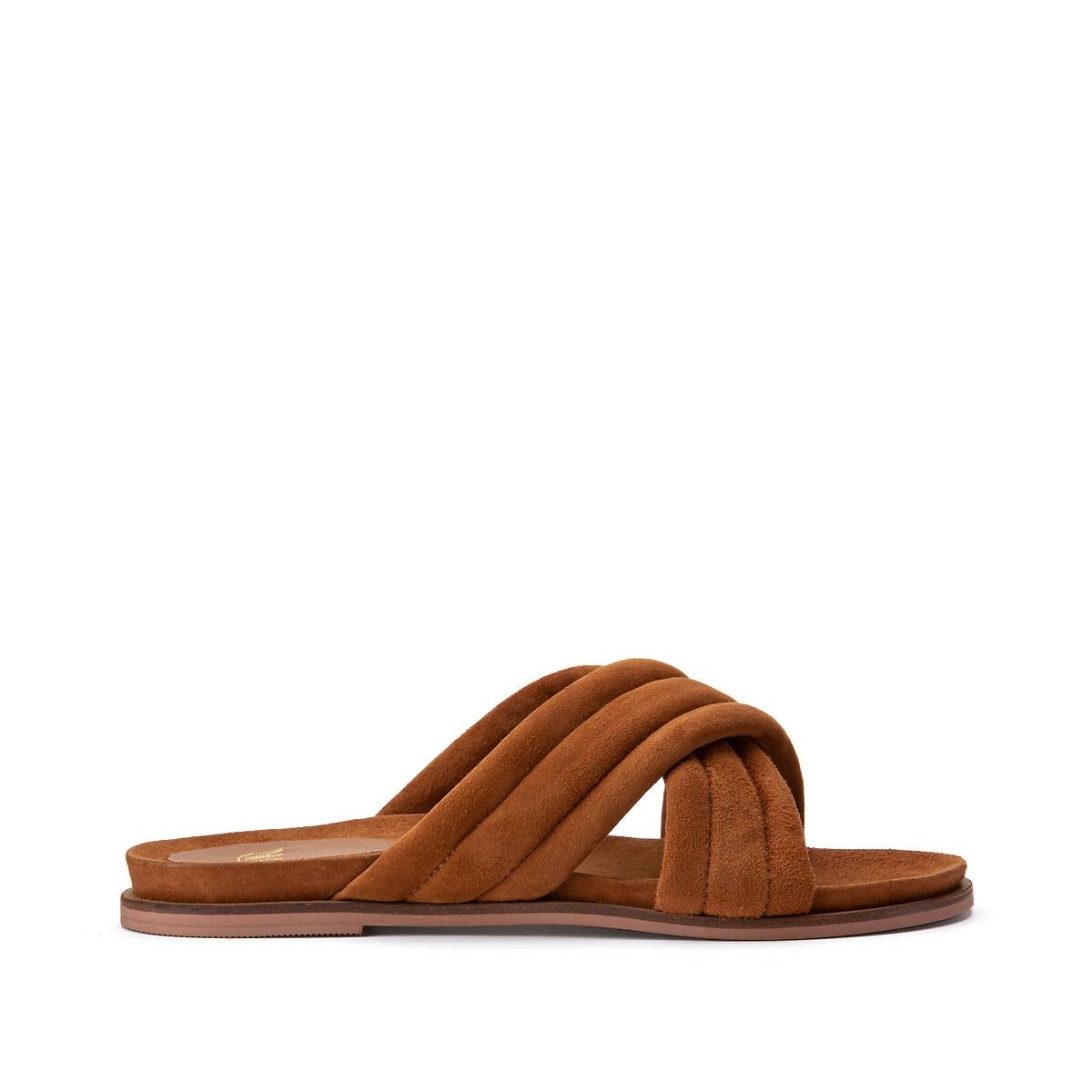 Туфли LaRedoute Без задника из кожи с перекрещенными ремешками 39 каштановый туфли без задника boite