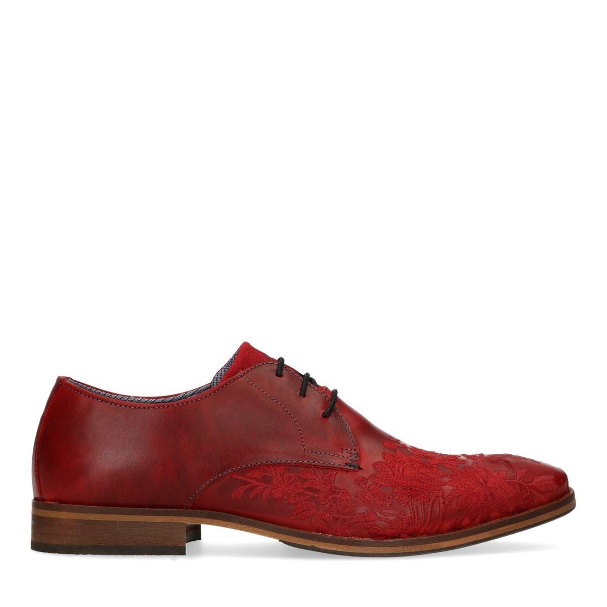 Chaussures à lacets en cuir avec broderies