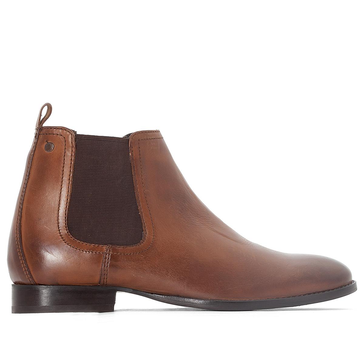 Ботинки-челси кожаные HOLTONОписание:Детали   •  Высота каблука : 2,5 см •  Застежка : эластичная вставка •  Заостренный мысок •  Гладкая отделкаСостав и уход   •  Верх 100% кожа •  Подкладка 50% кожи, 50% текстиля •  Стелька 100% кожа<br><br>Цвет: темно-коричневый