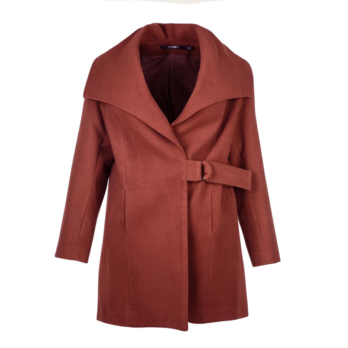 ПальтоЭлегантное пальто с поясом. Длинные рукава.<br><br>Цвет: красный/ кирпичный<br>Размер: 44/46 (FR) - 50/52 (RUS)