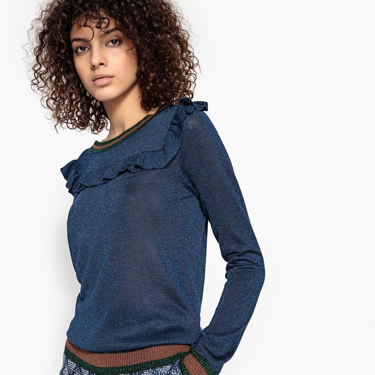 Пуловер блестящий с воланами PASCALДетали •  Длинные рукава •  Круглый вырез •  Тонкий трикотажСостав и уход •  98% вискозы, 2% металлизированных волокон •  Следуйте рекомендациям по уходу, указанным на этикетке изделия<br><br>Цвет: темно-синий<br>Размер: M