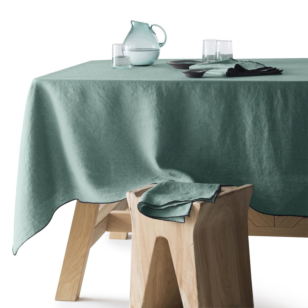 Скатерть LaRedoute Из 100 льна Suzy 150 x 250 см зеленый