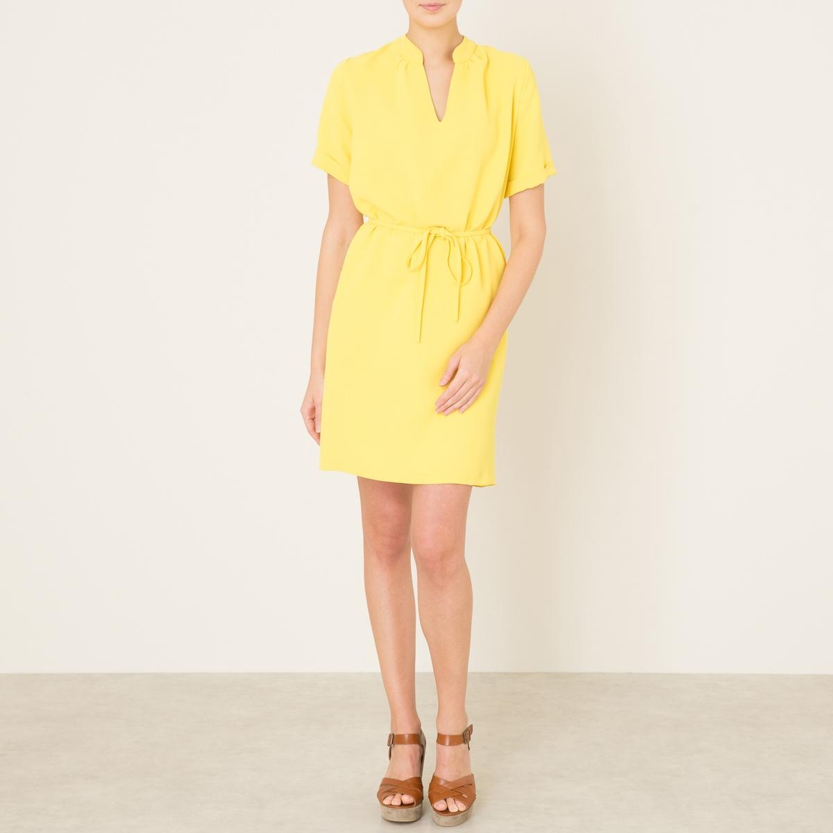 Платье ALIUMСостав и описание    Материал : 100% полиэстер   Длина : ок.92 см. для размера 36    Марка : TOUPY<br><br>Цвет: желтый,темно-синий<br>Размер: S
