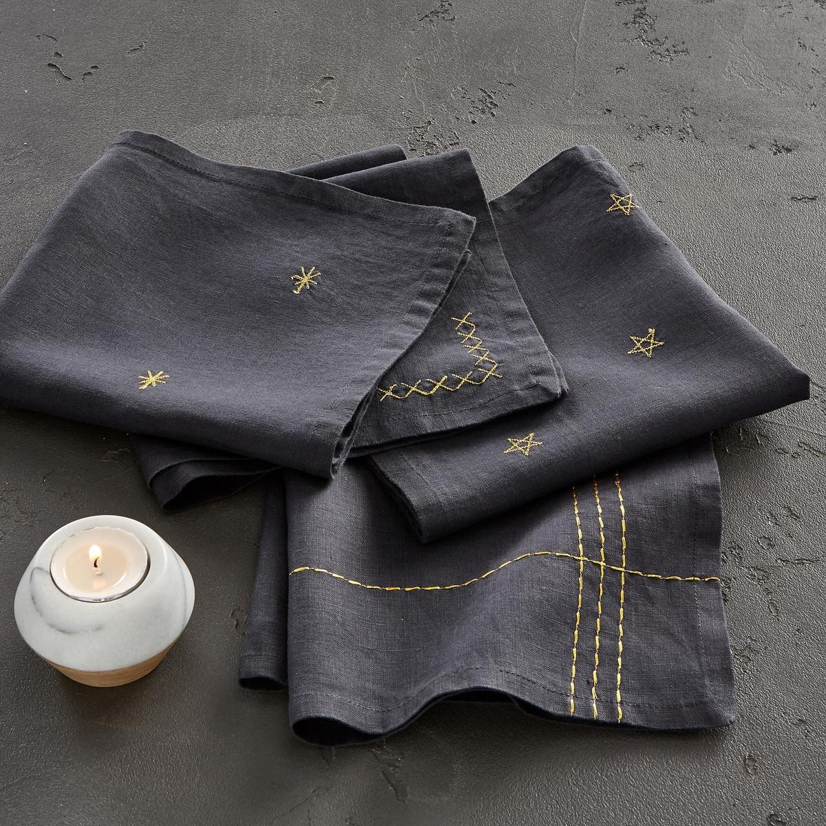 4 салфетки льняных с вышивкой Vanani от La Redoute