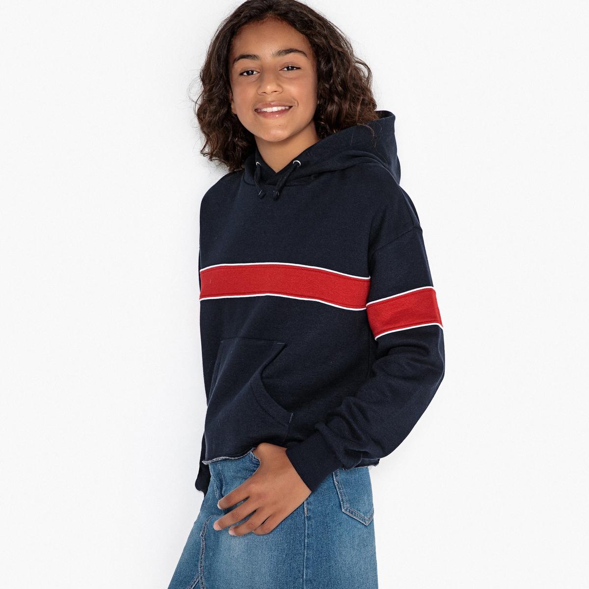 Свитшот в полоску с капюшоном в спортивном стиле, 10-16 лет