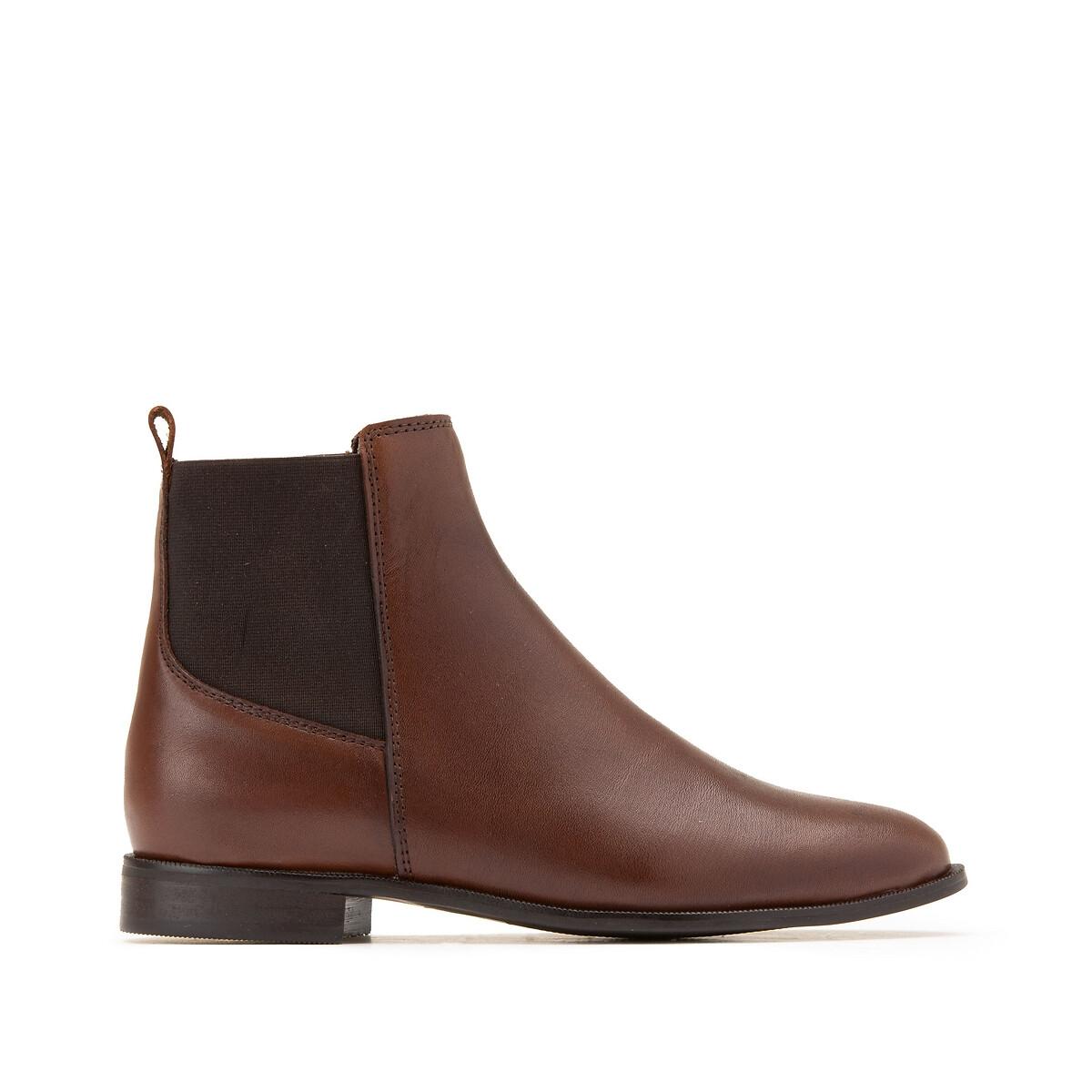 Фото - Ботинки LaRedoute Из кожи на плоском каблуке 42 каштановый сандалии la redoute из кожи с перекрещенными ремешками на плоском каблуке 39 розовый
