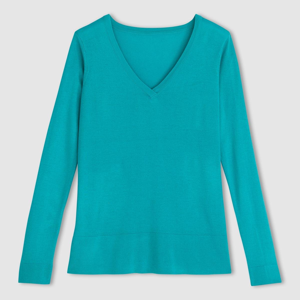 Пуловер объемного покроя с V-образным вырезом<br><br>Цвет: ярко-розовый<br>Размер: 46/48 (FR) - 52/54 (RUS)
