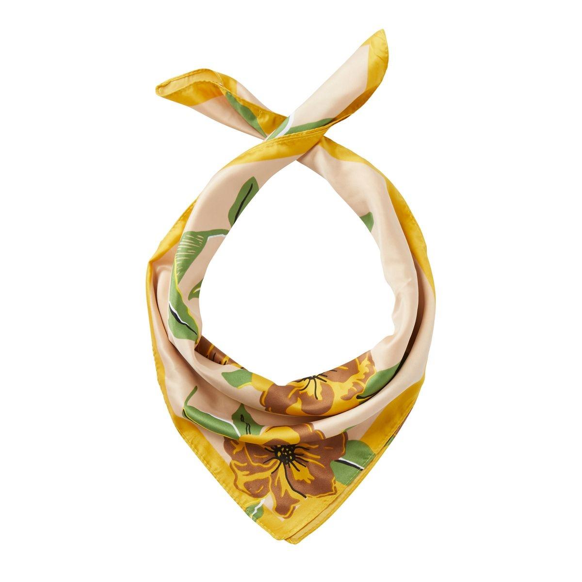 Petit foulard en satin à imprimé floral