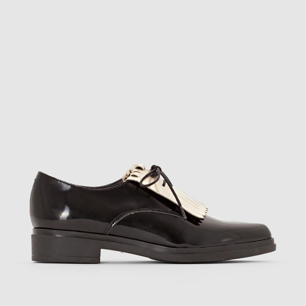 Ботинки-дерби с мексиканской планкой золотистого цвета