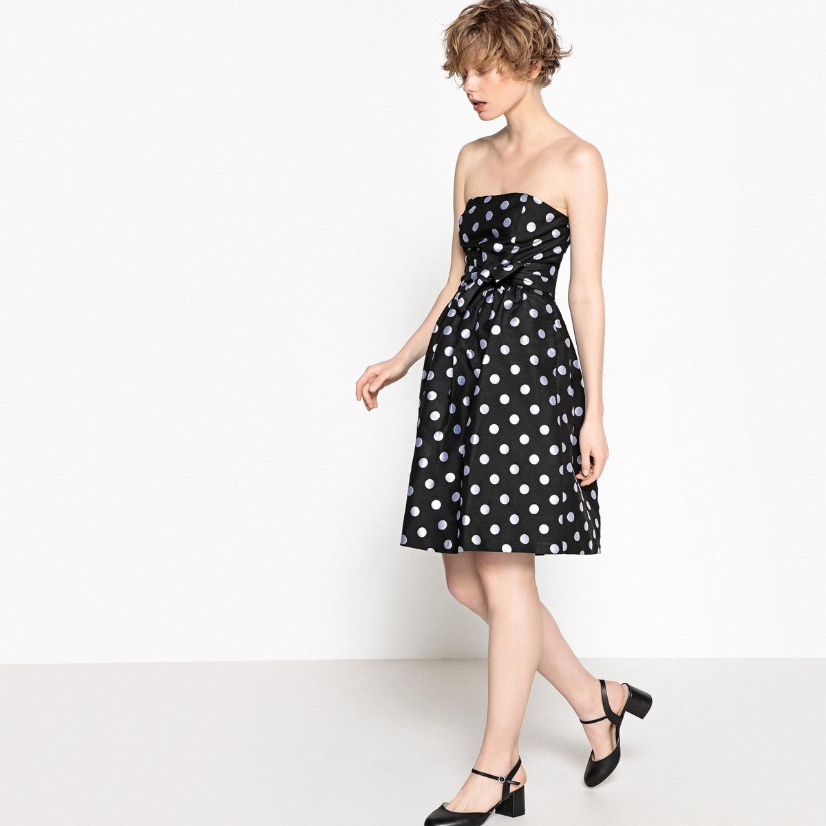 Платье-бюстье из жаккарда в горошек, пояс спереди viktoria irbaieva платье бюстье