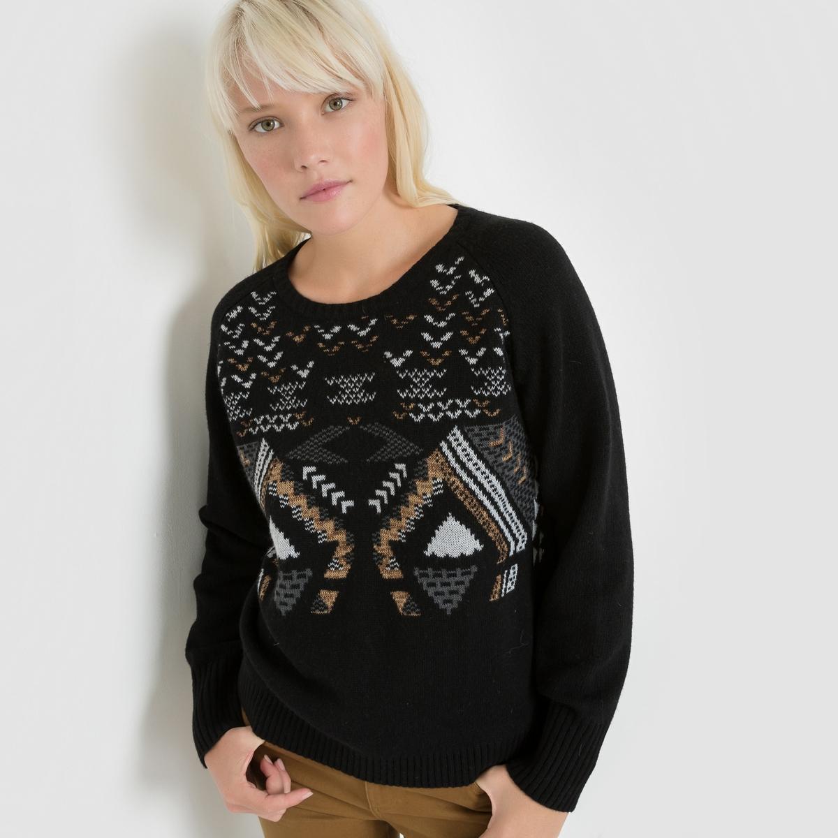 Пуловер с геометрическим рисункомПуловер с длинными рукавами SUNCOO. Пуловер комфортного прямого покроя из трикотажа. Оригинальный геометрический рисунок спереди. Свободный круглый вырез. Края связаны в рубчик. Состав и описаниеМарка : SUNCOOМатериал : 35% полиамида, 30% вискозы, 20% акрила, 10% шерсти, 5% кашемира<br><br>Цвет: черный