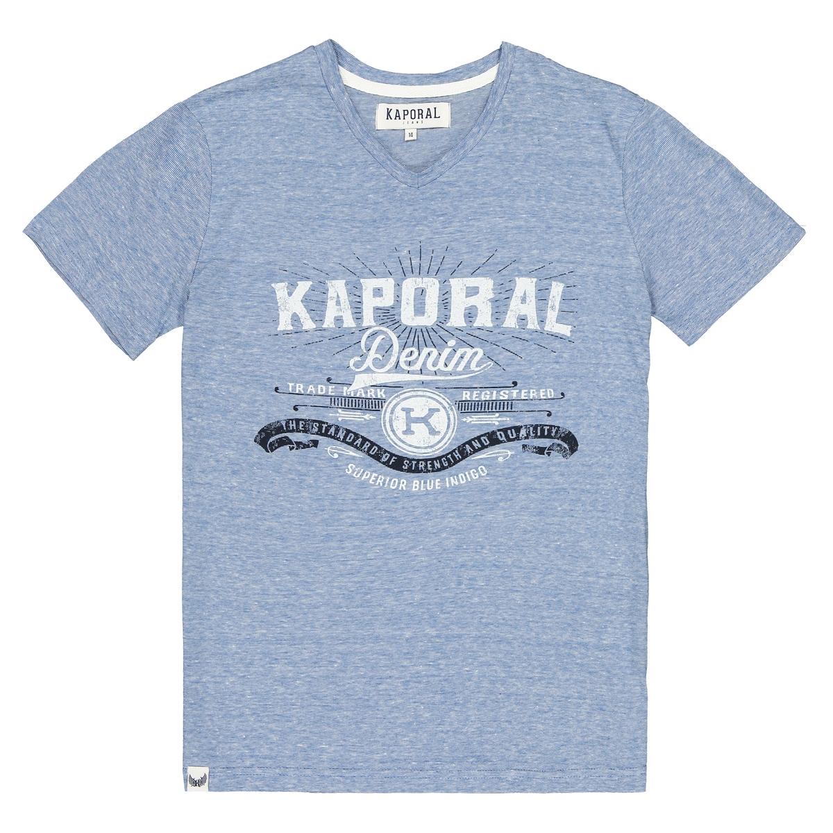 Футболка La Redoute С V-образным вырезом KAPORAL 12 лет -150 см синий футболка la redoute с рисунком 12 лет 150 см синий