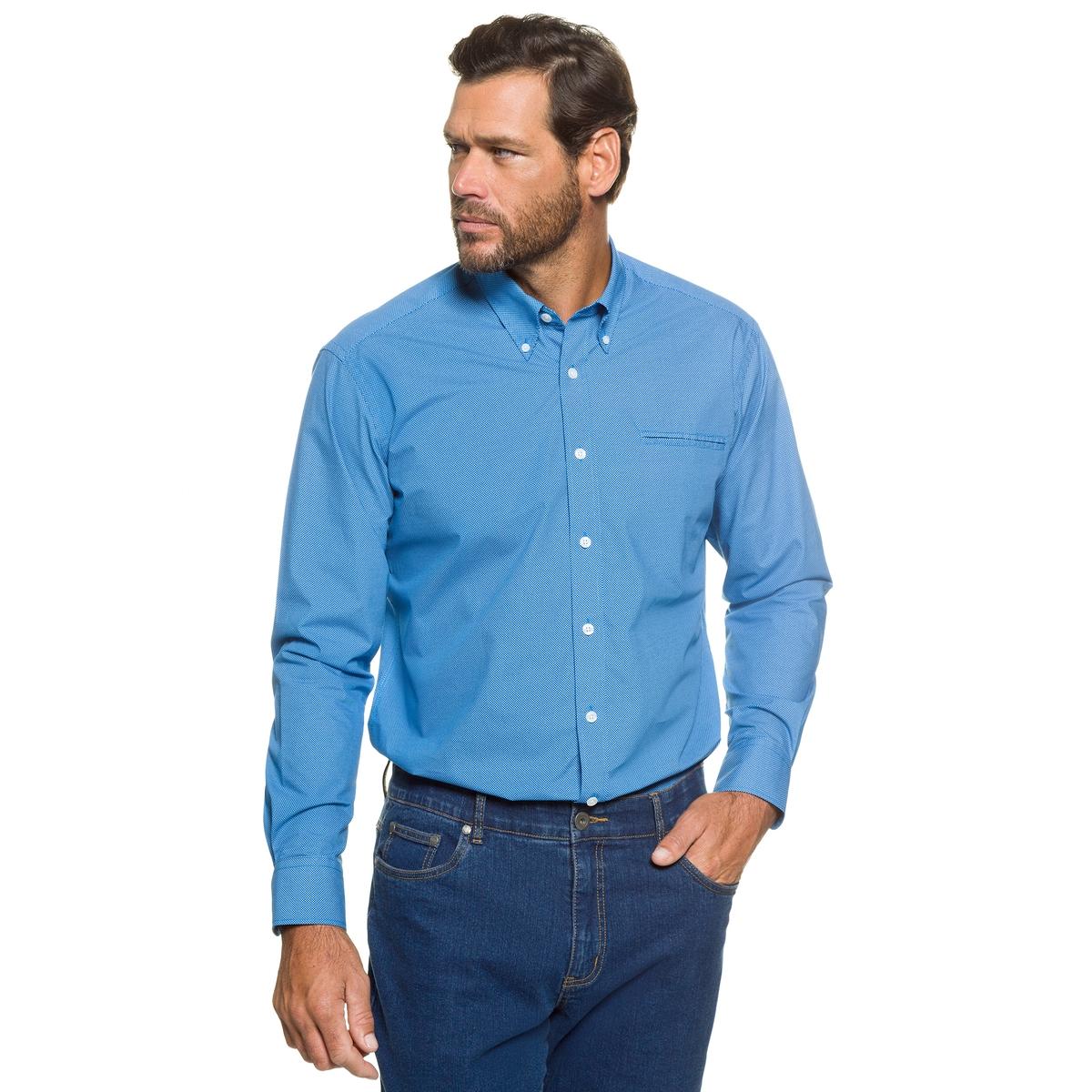 РубашкаРубашка в горошек JP1880, воротник с уголками на пуговицах, нагрудный карман. Удобный покрой. 100% хлопок. Длина в зависимости от размера 82-96 см<br><br>Цвет: синий