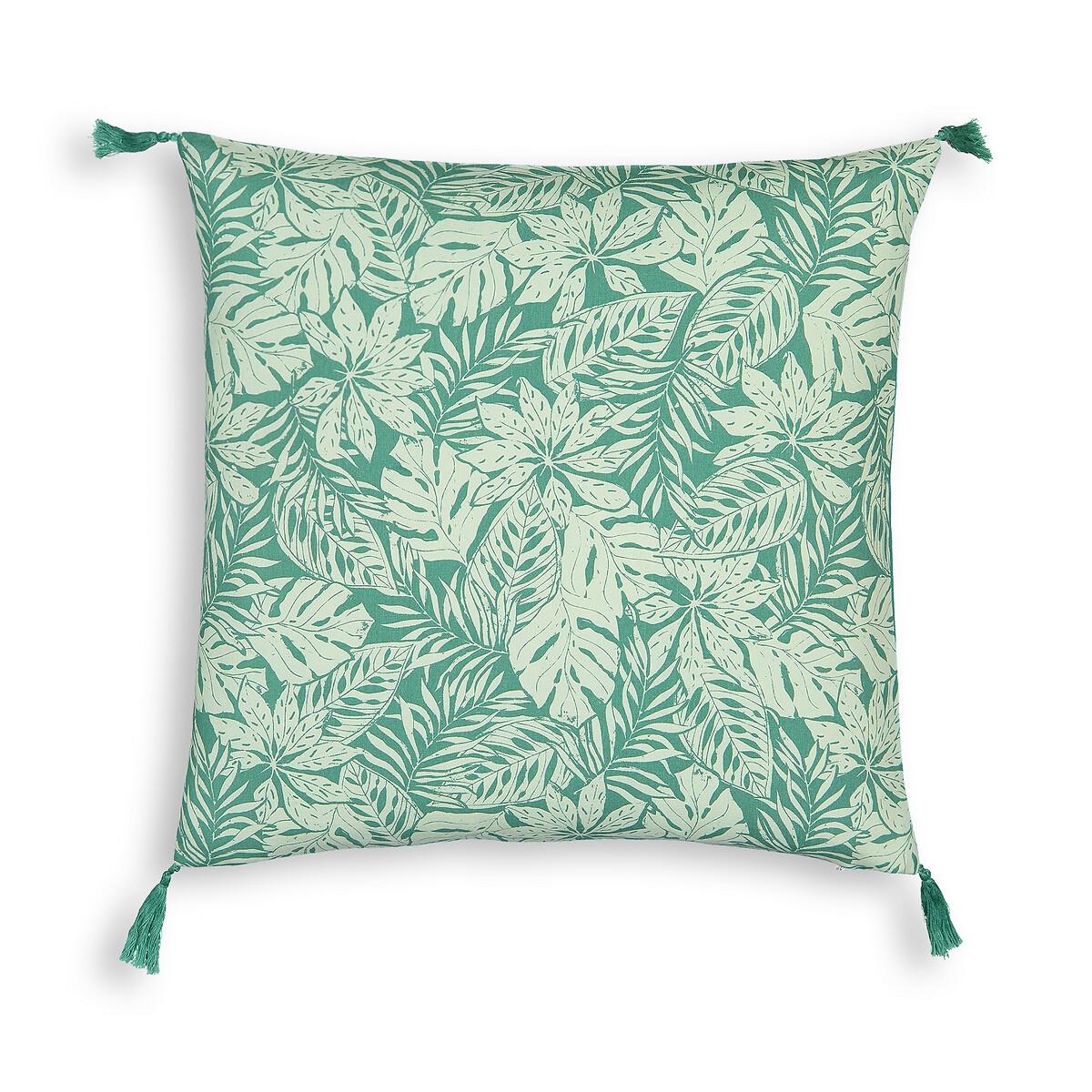 Фото - Чехол LaRedoute Для подушки из осветленного хлопка Ficus 40 x 40 см зеленый пододеяльник laredoute из осветленного хлопка babette 260 x 240 см зеленый