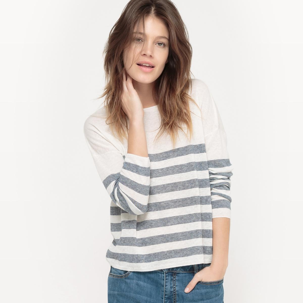 Пуловер в полоску, вырез-лодочка