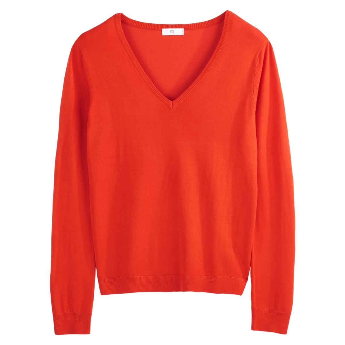 Jersey con cuello de pico, manga larga y punto vaporoso