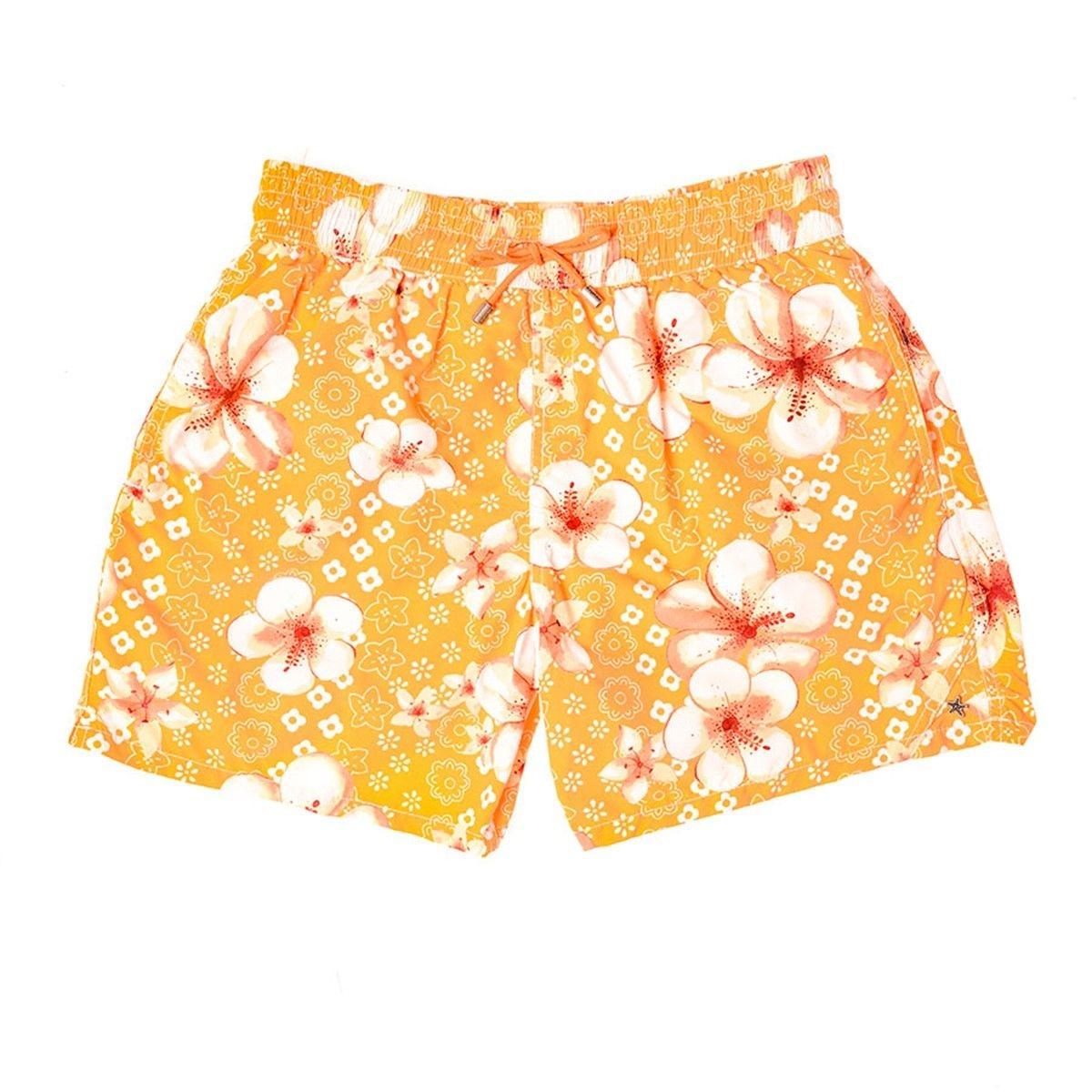Maillot de bain orange fleurs blanches PALAWAN