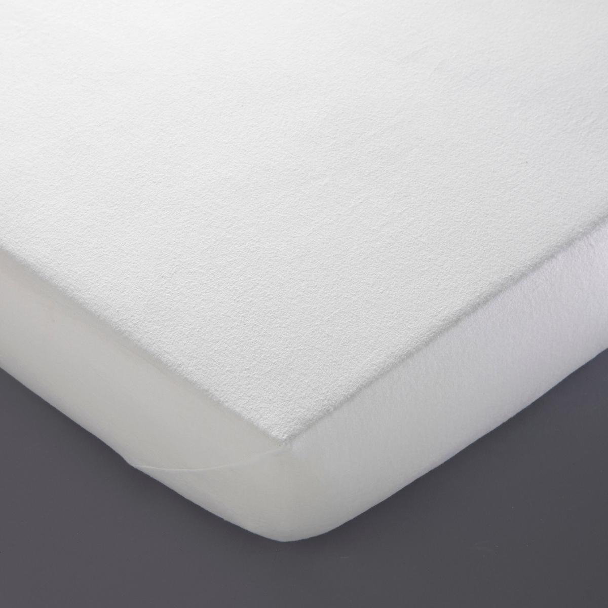 Чехол LaRedoute Защитный для матраса из мольтона 160 x 200 см белый чехол laredoute для кровати 100 льна 160 x 200 см белый