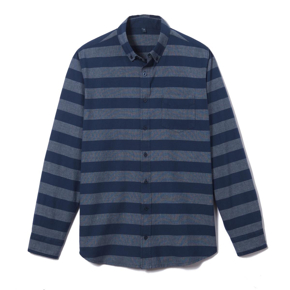 Camisa regular a rayas 100% algodón chambray