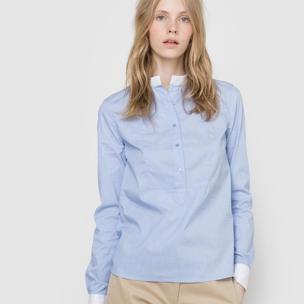Рубашка однотонная из поплина стретч