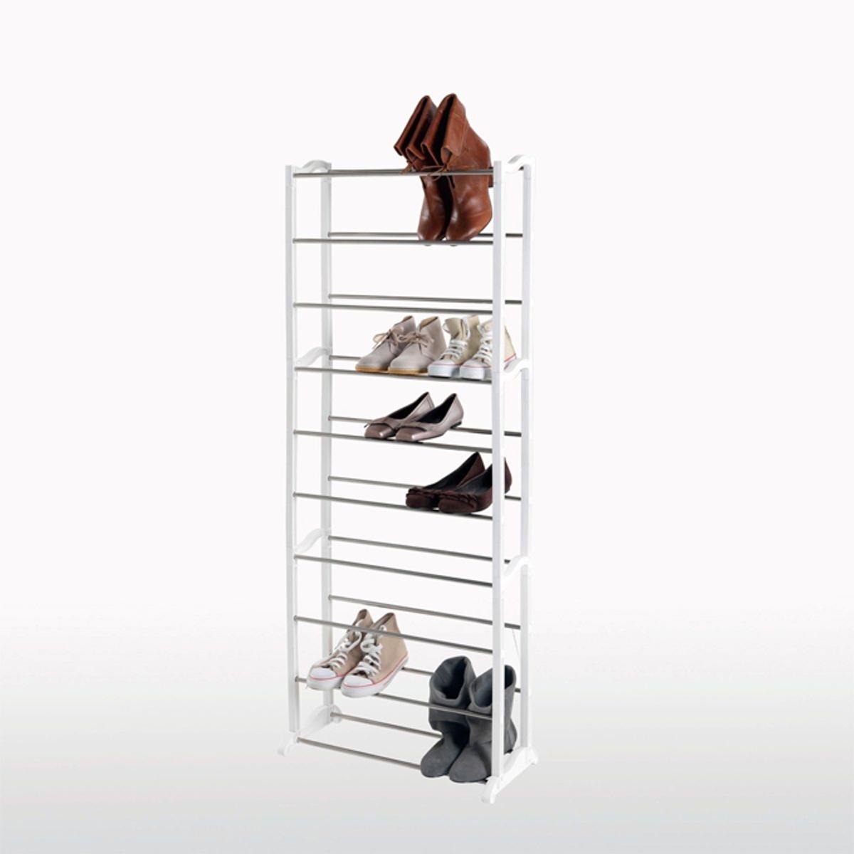 Полка модульная для обуви SCALLEОписание полки для обуви SCALLE :- Рейки из стали и боковые детали из белого полимера.- 10 уровней.- Объем : До 30 пар обуви.- Легко и быстро собрать и переместить.Полка готова к сборке в соответствии с прилагающейся инструкцией.Размеры :- Ш.54,7 x В.142,4 x Г.25,3 см..<br><br>Цвет: белый