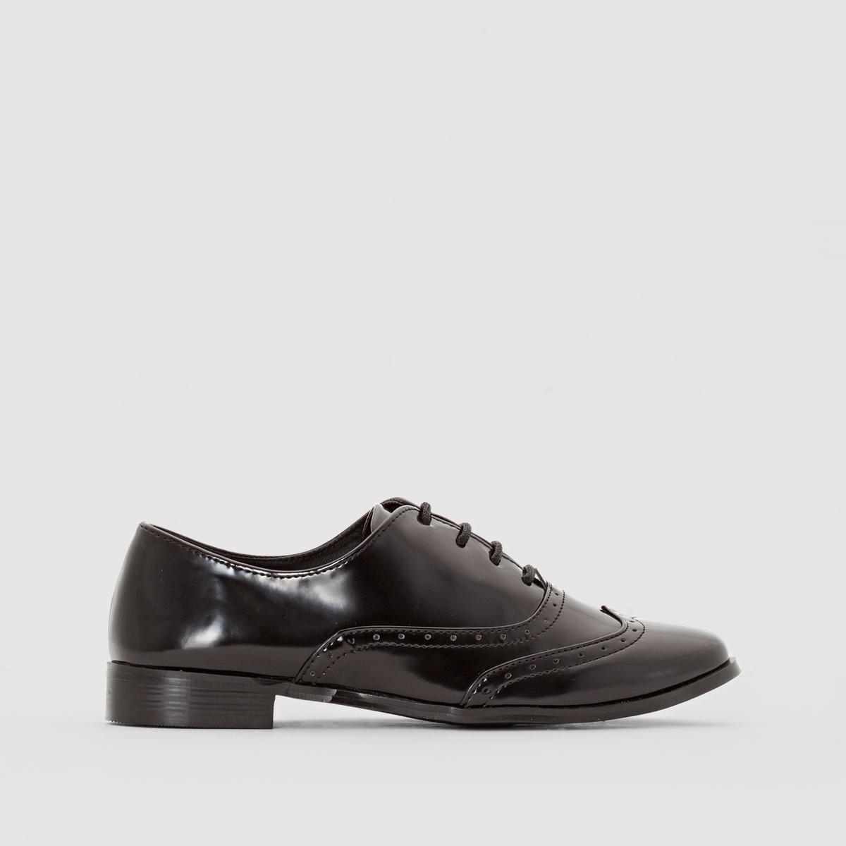 Ботинки-дерби черного цвета с перфорированным мыском от La Redoute Collections