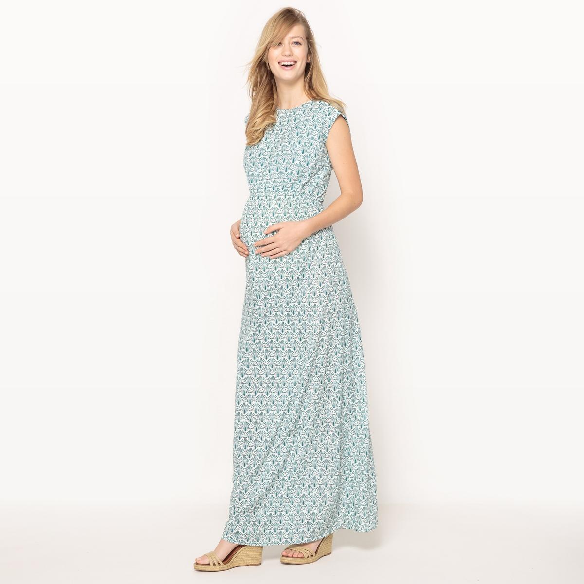 Платье длинное для периода беременности из вискозы, красивый бантик сзади