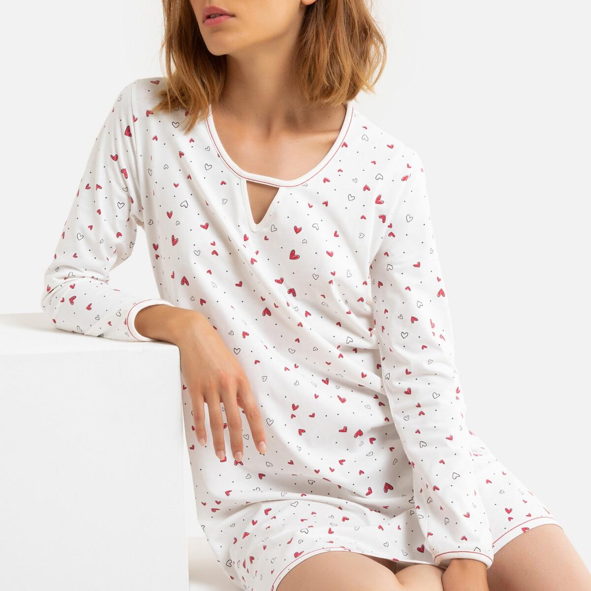 Chemise de nuit coton Latte imprimée