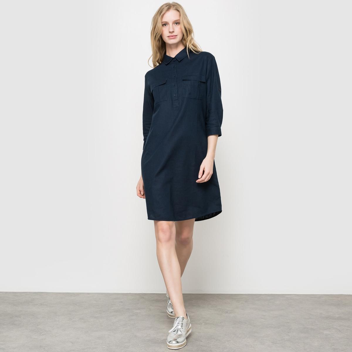 Платье из льна и хлопкаПлатье.  53% льна, 47% хлопка.  Рубашечный воротник с планкой застежки на пуговицы. 2 кармана с клапаном спереди. Длинные рукава с отворотами и планкой застежки на пуговицу. Закругленный низ. Длина ок.87 см.<br><br>Цвет: синий морской<br>Размер: 38 (FR) - 44 (RUS)