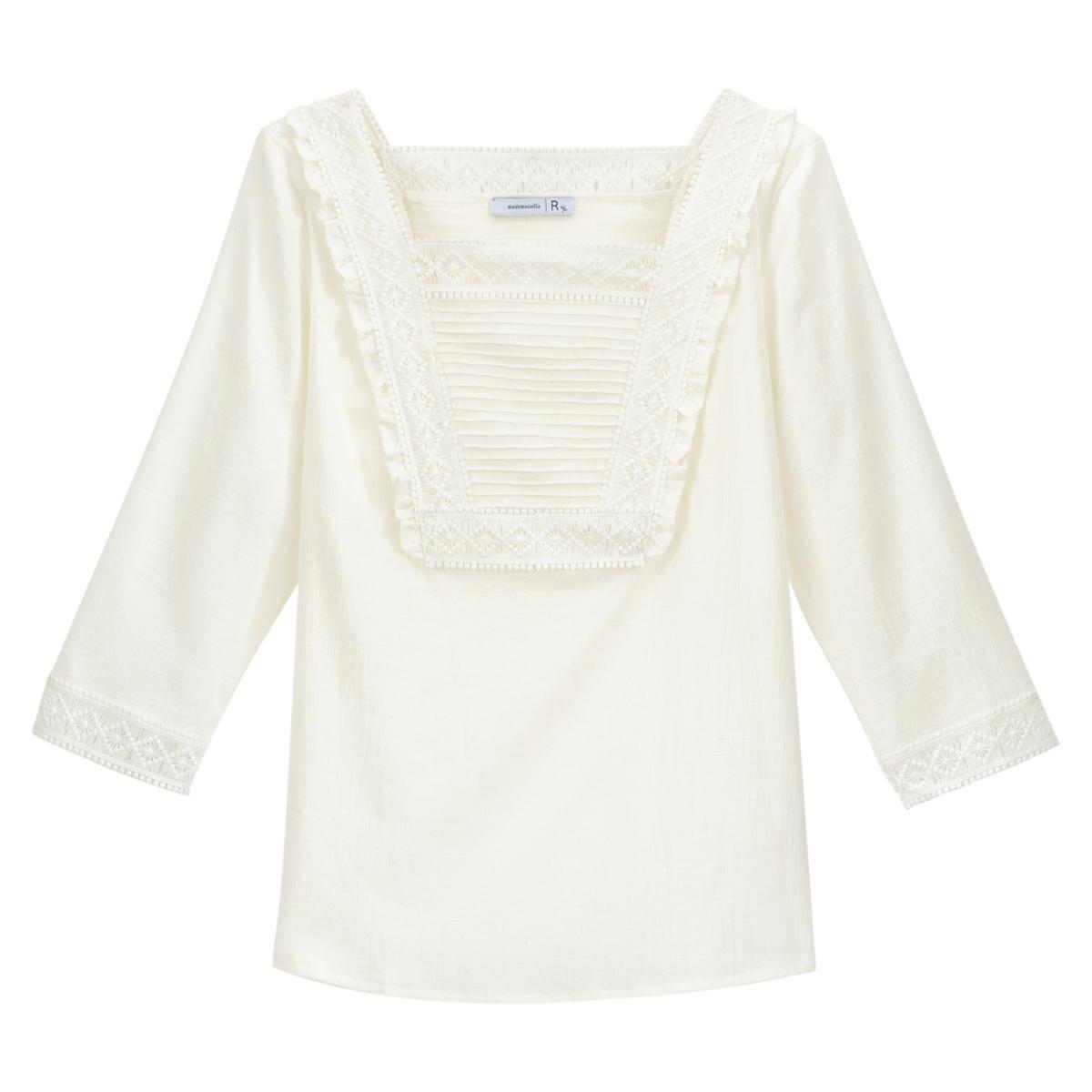 Blusa con cuello cuadrado y plastrón bordado