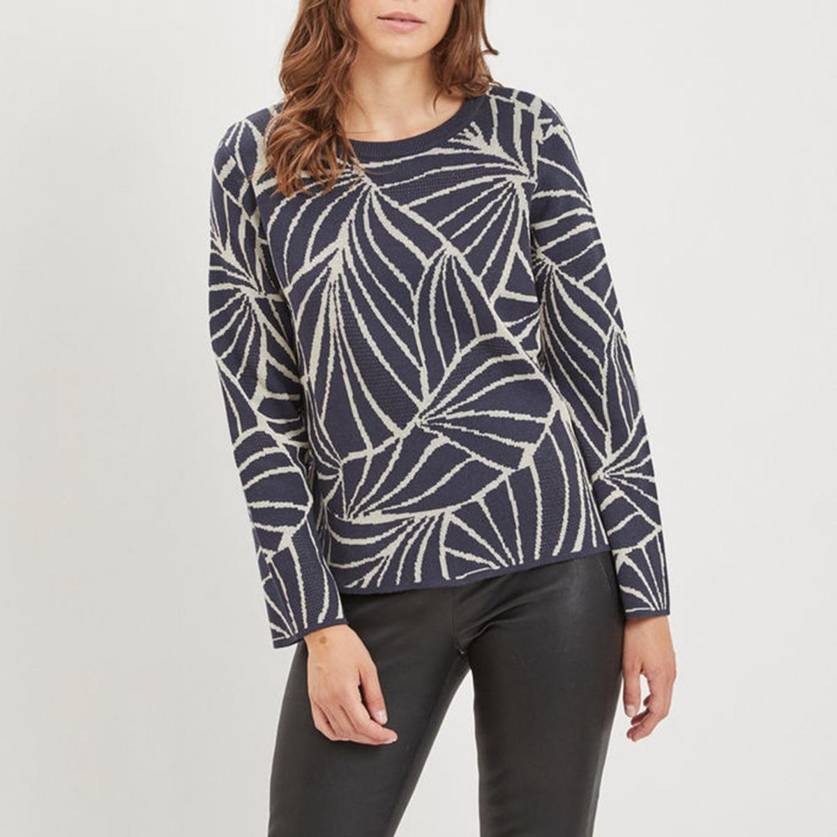 Пуловер La Redoute С рисунком и круглым вырезом XS синий свитшот la redoute с круглым вырезом и вышивкой s черный