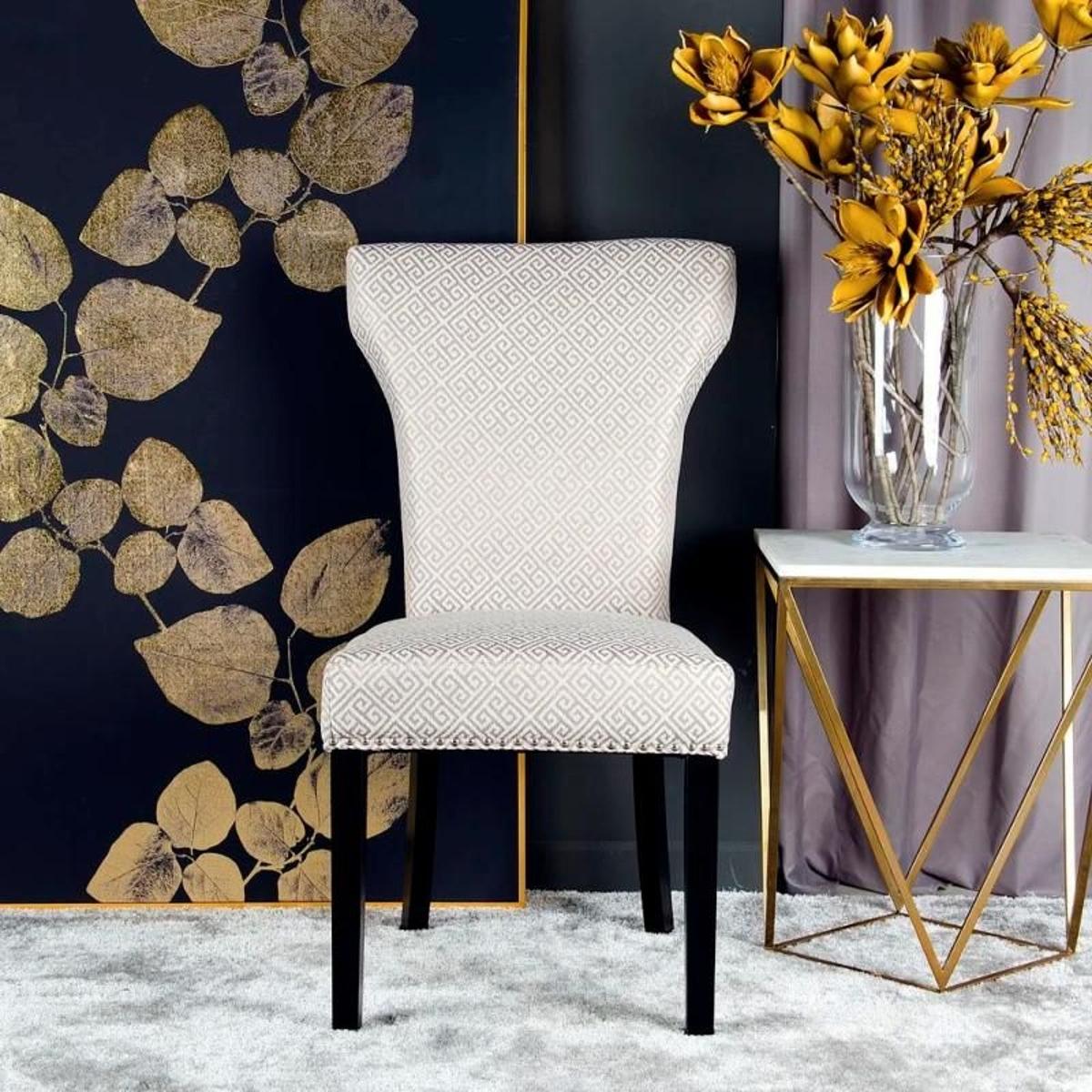Chaise en tissu taupe et bois noir géo (lot de 2)