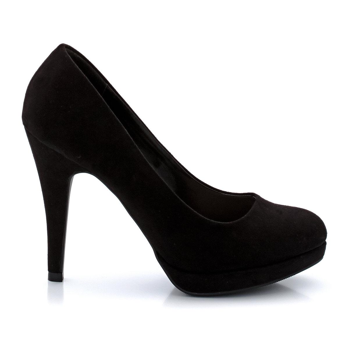 Туфли из искусственной замши на высоком каблукеНеоспоримые плюсы: высокий каблук и простые линии, которые всегда в моде!<br><br>Цвет: черный<br>Размер: 36