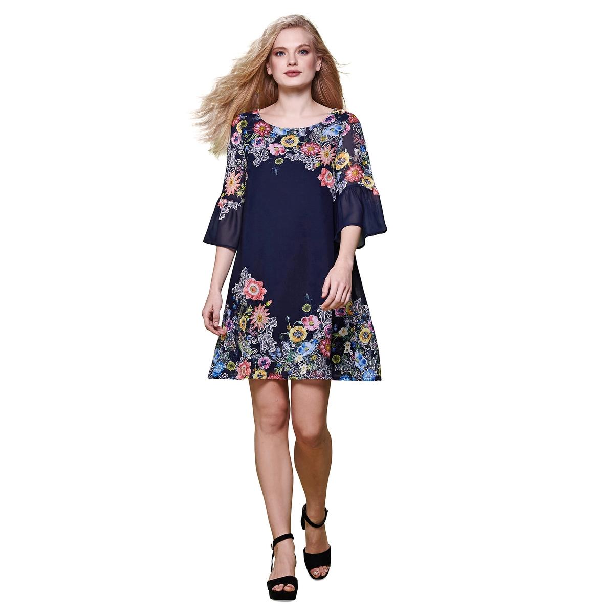 Платье расклешенное с рукавами 3/4 и цветочным рисункомМатериал : 100% полиэстер  Длина рукава : рукава 3/4  Форма воротника : круглый вырез Покрой платья : платье прямого покроя    Рисунок : цветочный   Длина платья : короткое<br><br>Цвет: темно-синий<br>Размер: 42 (FR) - 48 (RUS).38 (FR) - 44 (RUS)