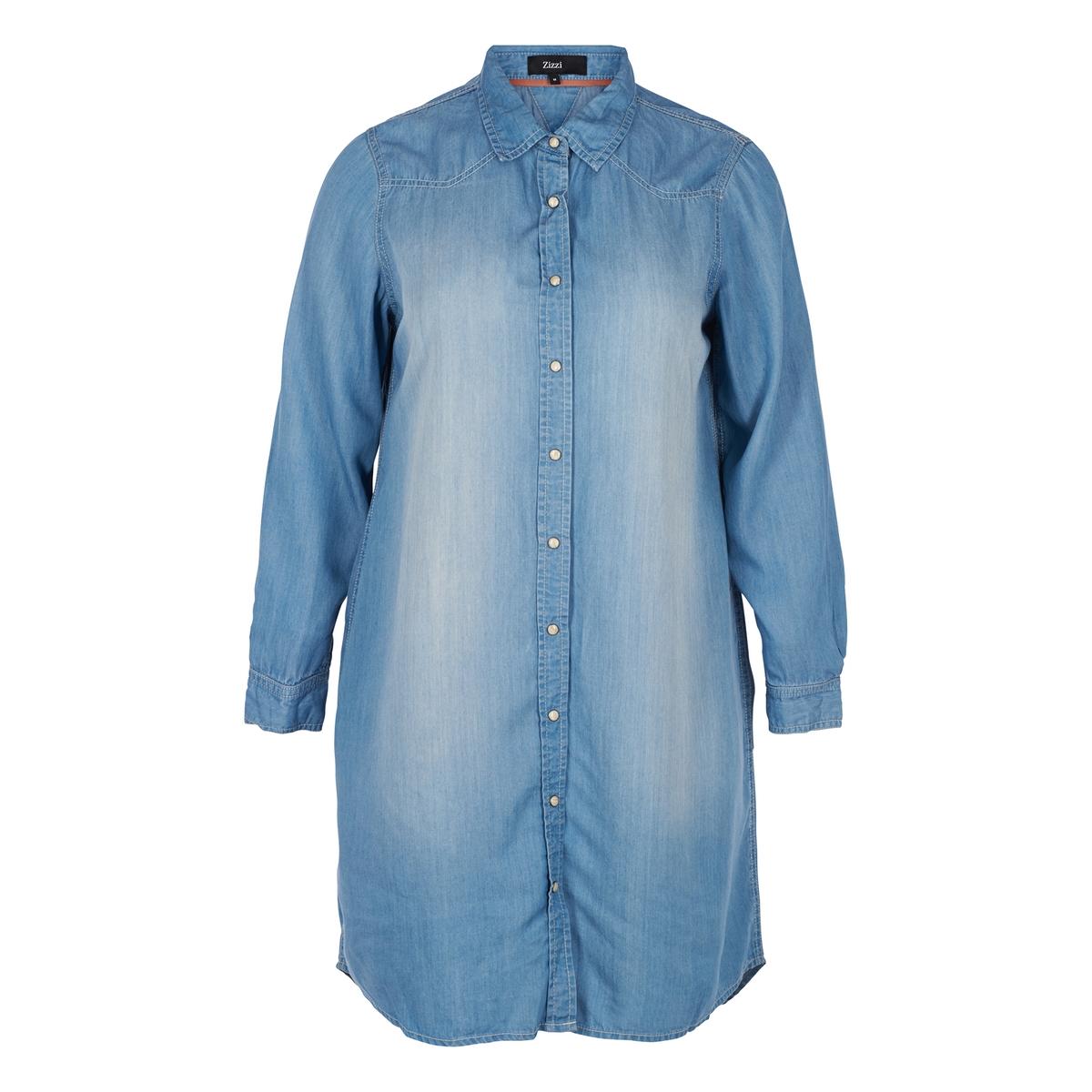 Платье-рубашка с эффектом джинсовой ткани рубашка прямая большого размера в клетку