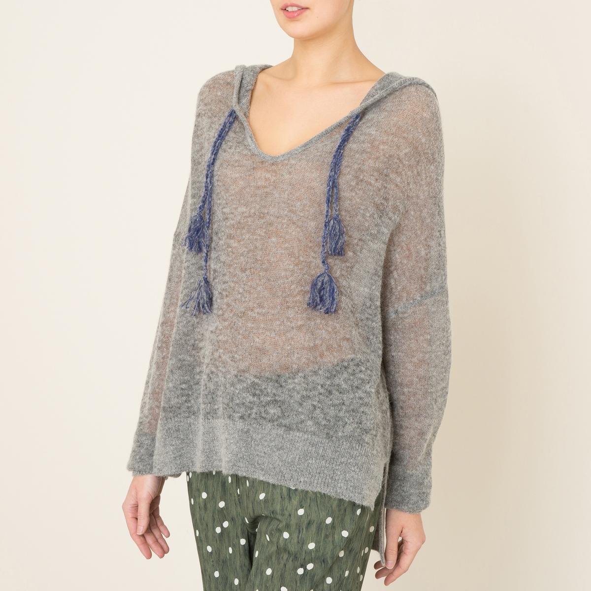 Пуловер с капюшоном MANGUITOПуловер LEON AND HARPER - модель MANGUITO с капюшоном . С завязками и помпонами . Низ со шлицами по бокам . Манжеты и низ в рубчик . Объемный покрой  . Состав и описание   Материал : 44% нейлона, 42% шерсти, 14% альпаки    Марка : LEON AND HARPER<br><br>Цвет: серый