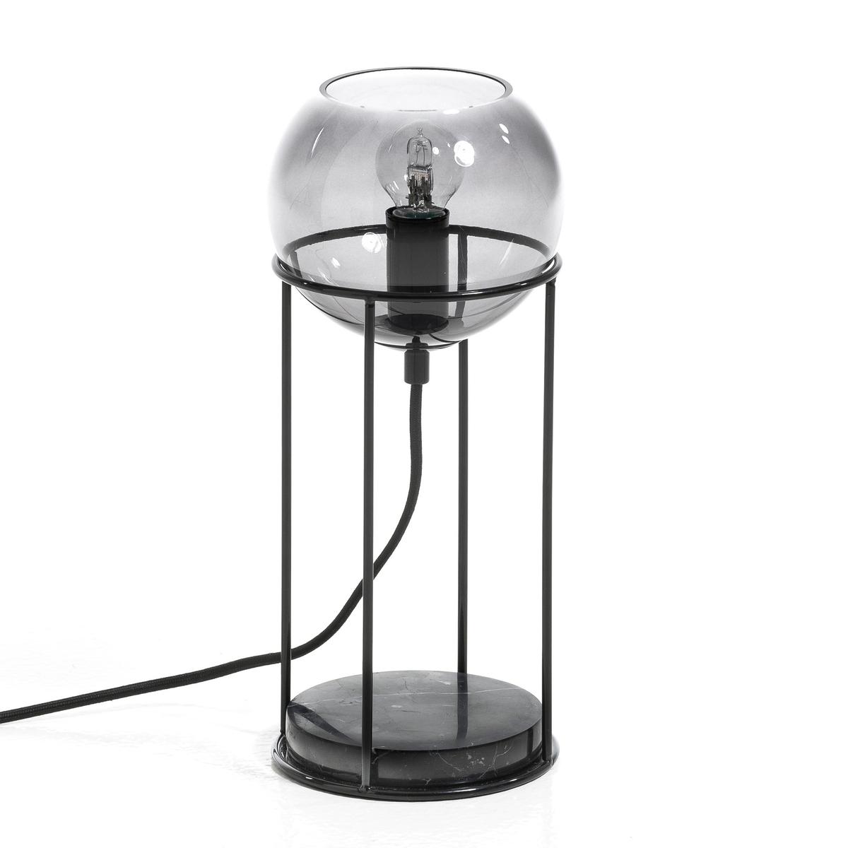 Лампа настольная AtomiumОтличный дизайн . Шар из затемненного стекла серого цвета на каркасе из металла .Цоколь из настоящего мрамора . Патрон E14 для лампочки макс 40W (не входит в комплект)  . В.30 см x ? 13 см. Кабель из черного текстиля . Этот светильник совместим с лампочками    энергетического класса   : A-B-C-D-E.<br><br>Цвет: черный лак