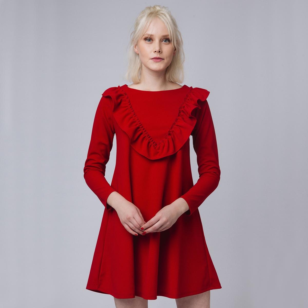 Платье укороченное с длинными рукавами с воланами