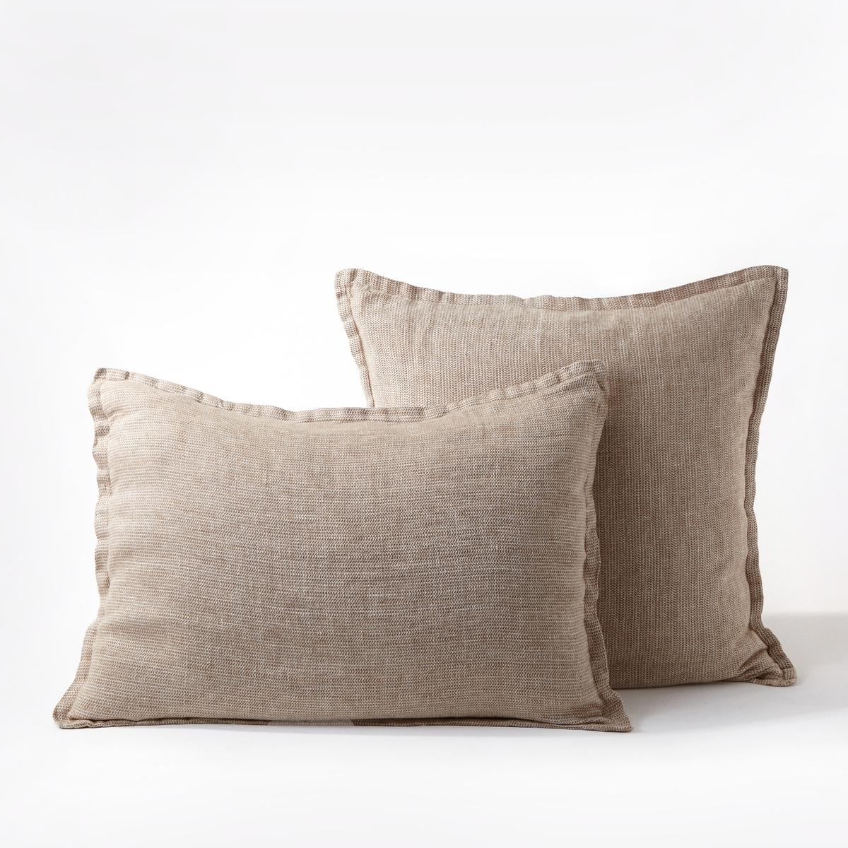 Наволочка из осветленного льна с зигзагообразным рисунком, EbintaОсветленный лен. Ткань с легким жатым эффектом не требует глажки, со временем становится более мягкой и нежной.Состав :- 100% ленОтделка : - Плоский волан- Форма мешкаУход : - Машинная стирка при 40 °С Размеры :- 50 x 70 см : прямоугольная наволочка- 65 x 65 см  : квадратная наволочка<br><br>Цвет: экрю/ красный,экрю/желтый,экрю/хаки
