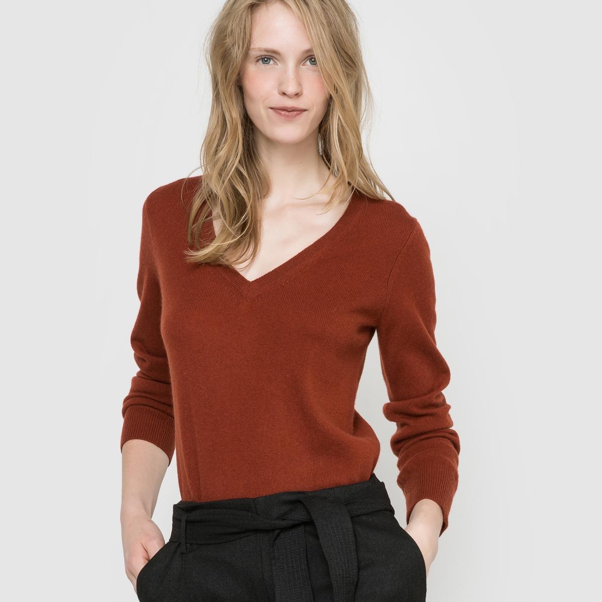 Пуловер с V-образным вырезом, 100% кашемира пуловер с v образным вырезом