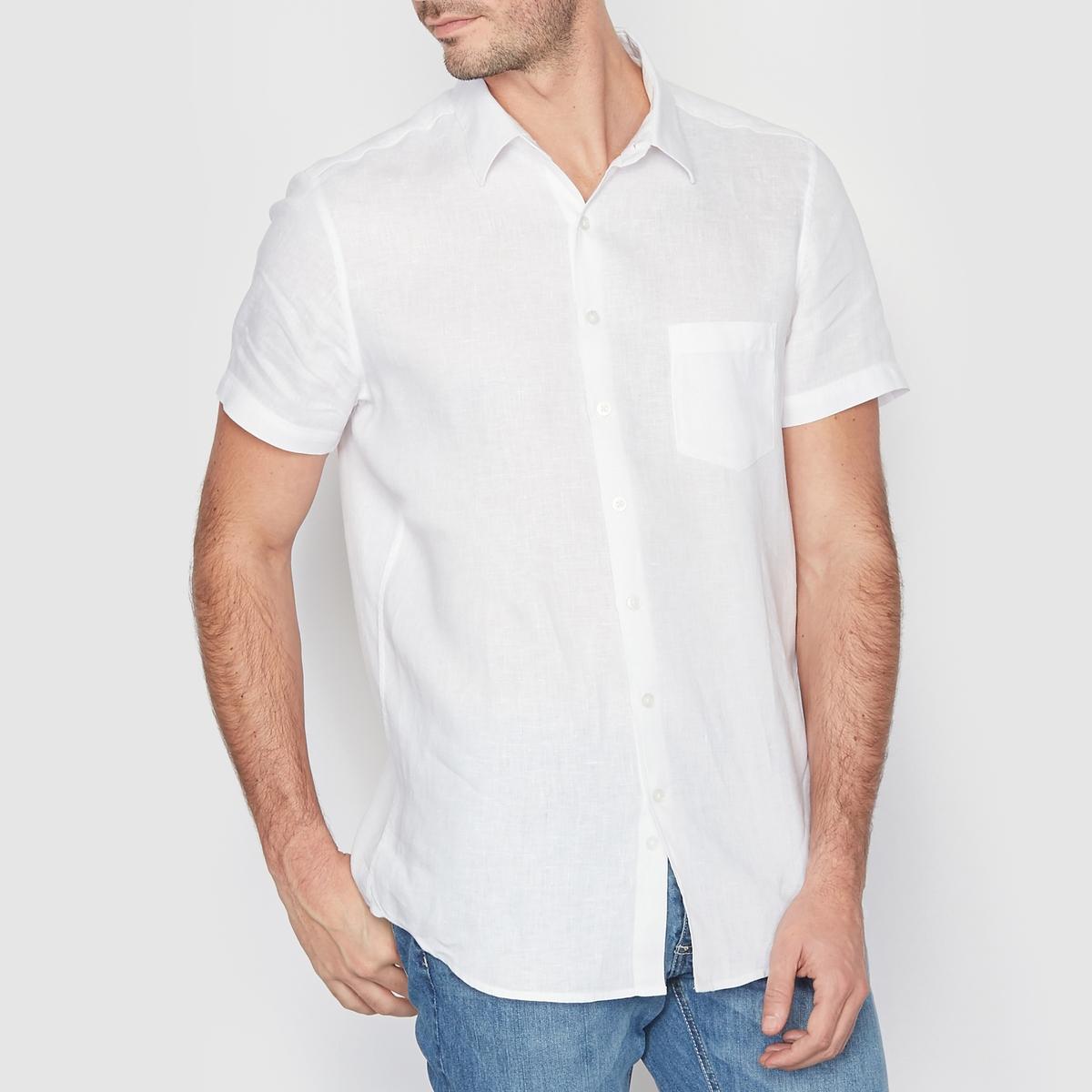 Рубашка прямого покроя с короткими рукавами, 100% лен