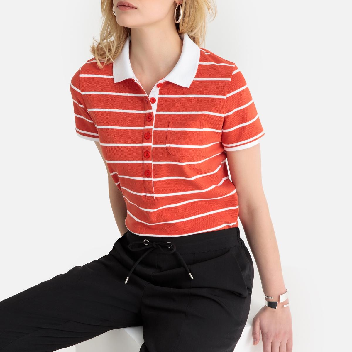 T-shirt com gola polo, mangas curtas, malha piqué