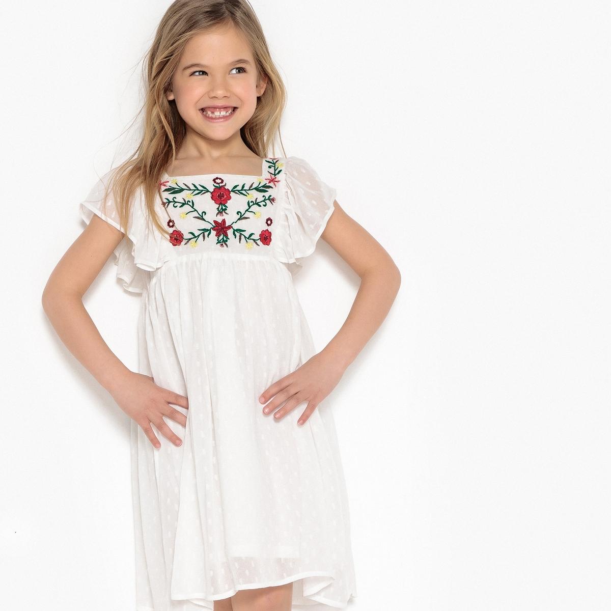 Платье с цветочной вышивкой 3-12 лет