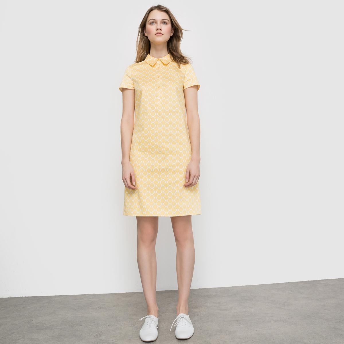 Платье-рубашка с короткими рукавамиПлатье-рубашка с короткими рукавами . Прямой покрой . Небольшой рубашечный воротник. Длина 90 см . Состав и детали : Материал : хлопковый атлас 98% хлопка, 2% эластана Марка : LES PETITS PRIX.Уход :Стирка : при 30° с изнанки Глажка : с изнаночной стороны<br><br>Цвет: набивной рисунок<br>Размер: 48 (FR) - 54 (RUS)