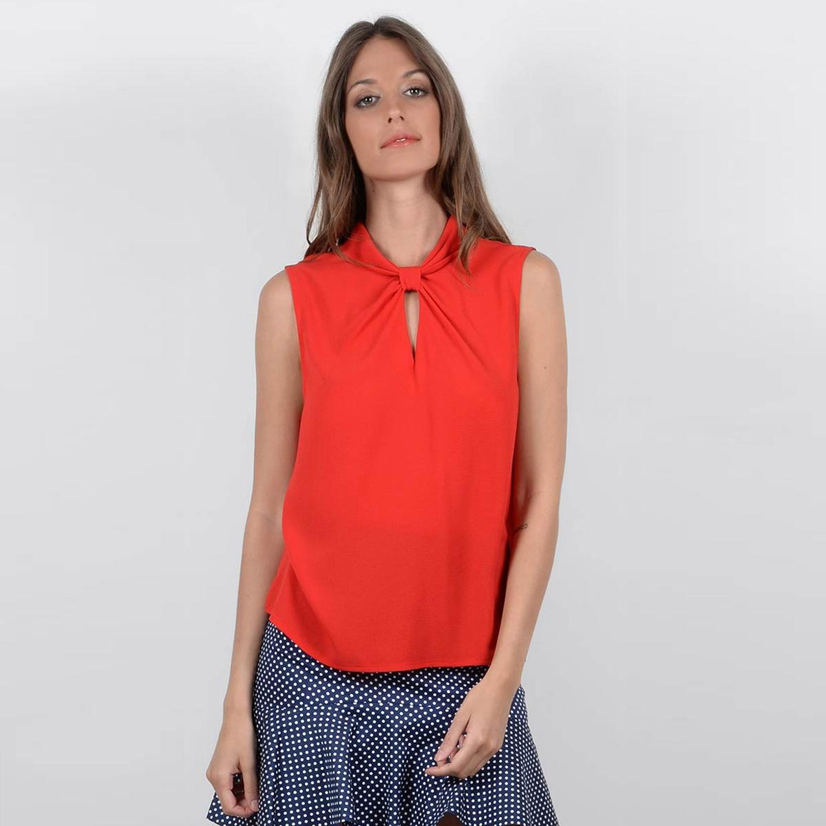 Блузка однотонная с круглым вырезом без рукавов блузка однотонная с круглым вырезом без рукавов