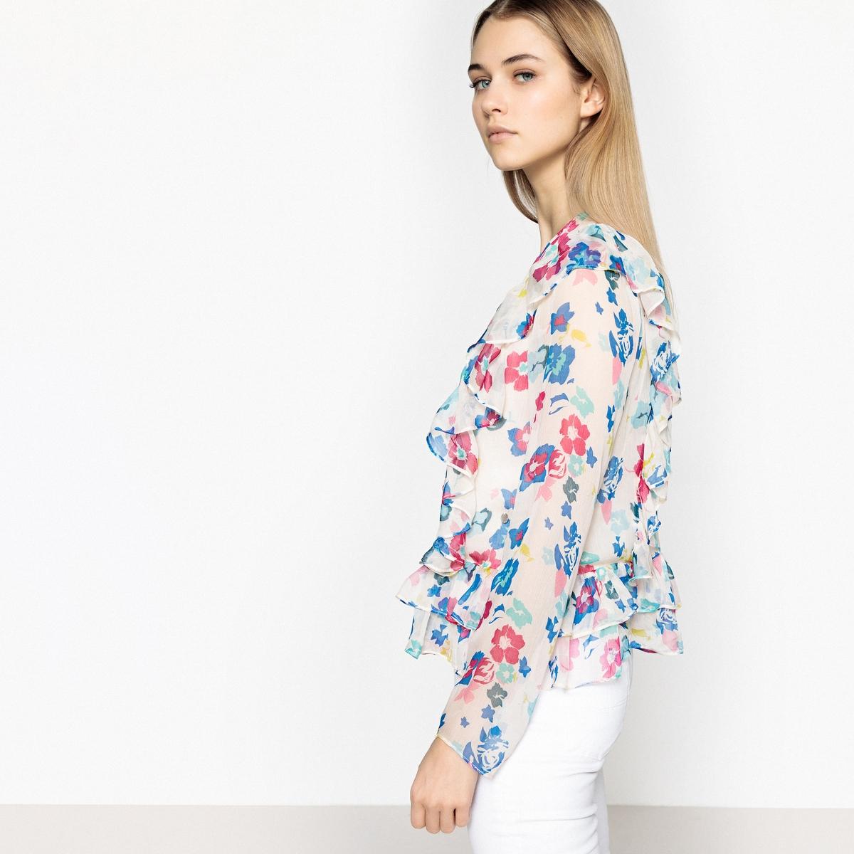 Блузка La Redoute С круглым вырезом цветочным рисунком и длинными рукавами XL зеленый цена