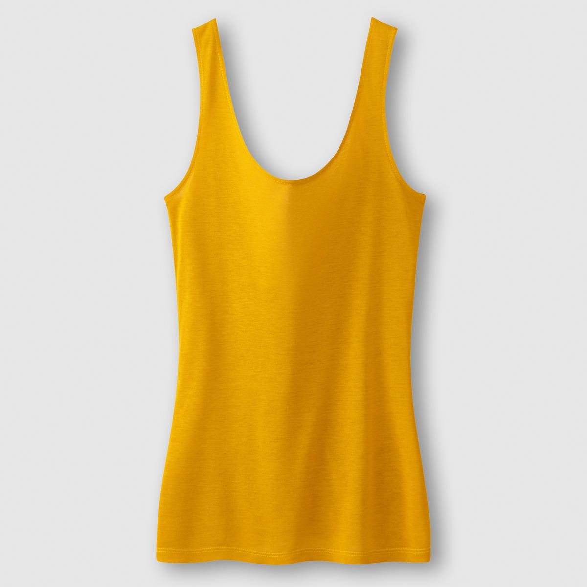 Футболка с воланом сзадиСостав и детали : Материал         100% вискозыДлина      60 смМарка         LES PETITS PRIXУход :Машинная стирка при 30 °C с вещами схожих цветов<br><br>Цвет: желтый<br>Размер: 42/44 (FR) - 48/50 (RUS)