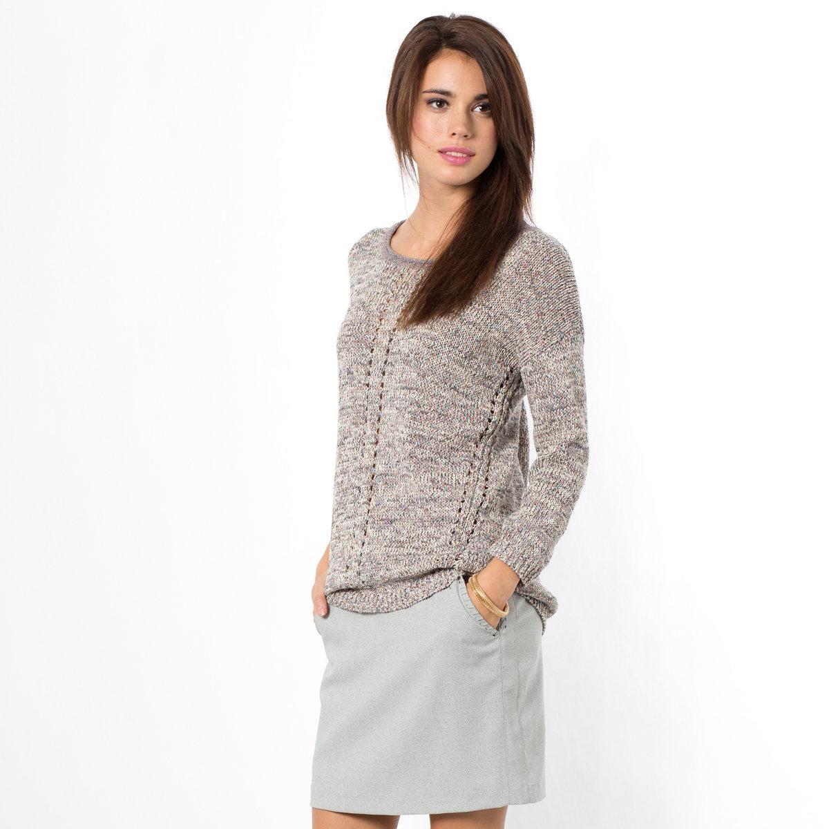 Пуловер с рукавами 3/4Пуловер от COLOR BLOCK, трикотаж, 50% хлопка, 24% полиамида, 13% полиэстера, 13% металлизированных волокон. Ажурные края. Рукава 3/4. Длина ок.64 см.<br><br>Цвет: серый